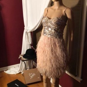 Sequined/feather dress